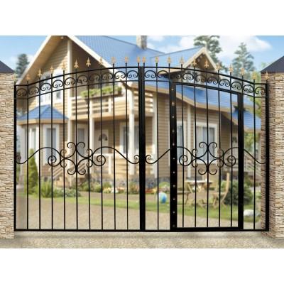 Ворота Дачные арочные со встроенной калиткой